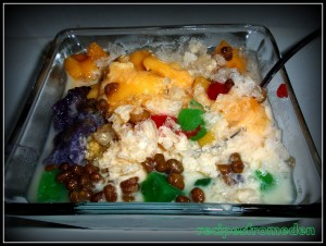 Halo-halo (mixed together) :Popular Filipino Refreshment or Dessert